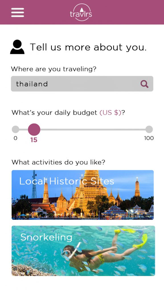 Image of Customize Your Trip Screen of Travlrs Mobile App