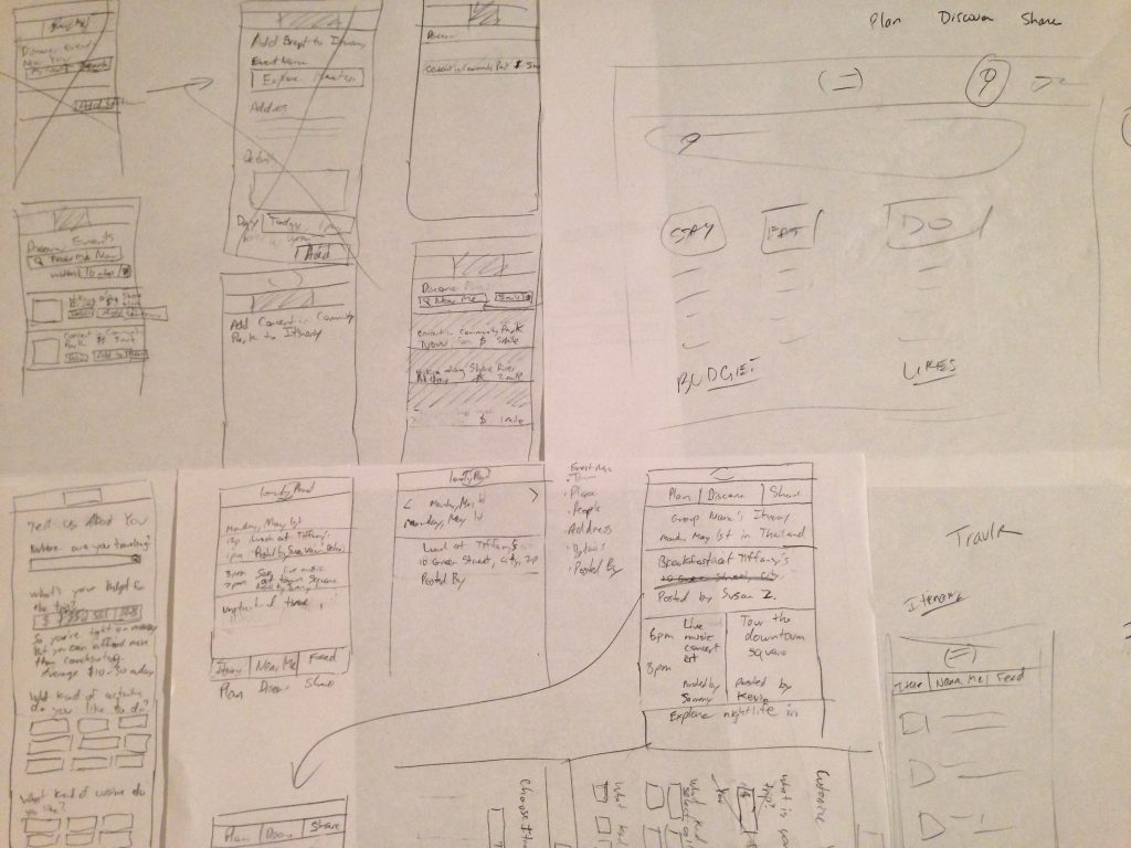Image of Paper Sketches for Travlrs Mobile App