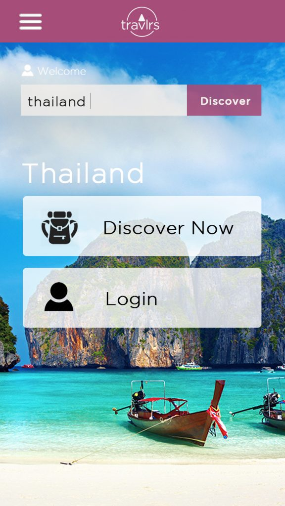 Image of Landing Screen for Travlrs Mobile App