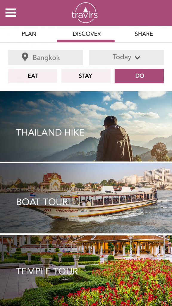 Image of Discover Screen of Travlrs Mobile App