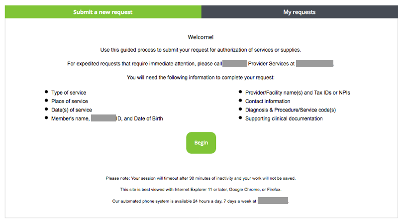 Image of Start Screen of Authorization Request Guided Process Before Usability Test