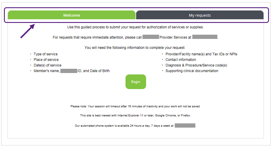 Image of Start Screen of Authorization Request Guided Process After Usability Test