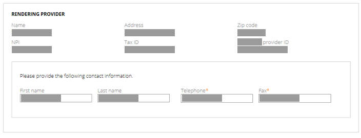 Image of Rendering Provider Step of Authorization Request Guided Process Before Usability Test