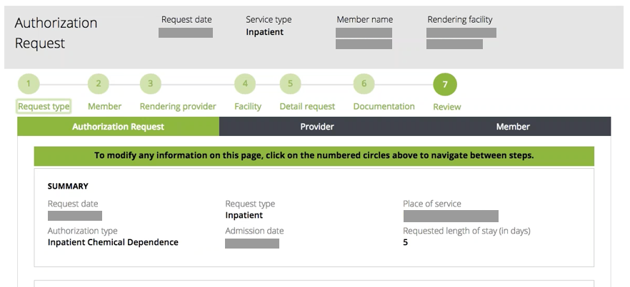 Image of Review Step of Authorization Request Guided Process Before Usability Test